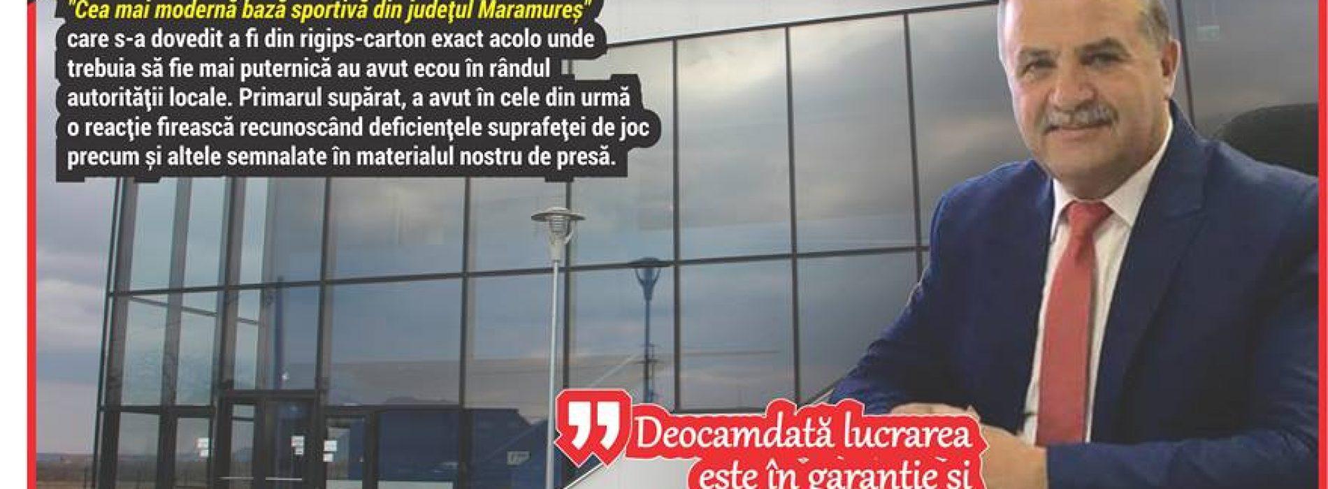"""REACȚIE. Primarul sălii de sport din carton, Octavian Pavel: """"SCHIMB SUPRAFAȚA DE JOC ȘI PERETELE DIN RIGIPS"""""""