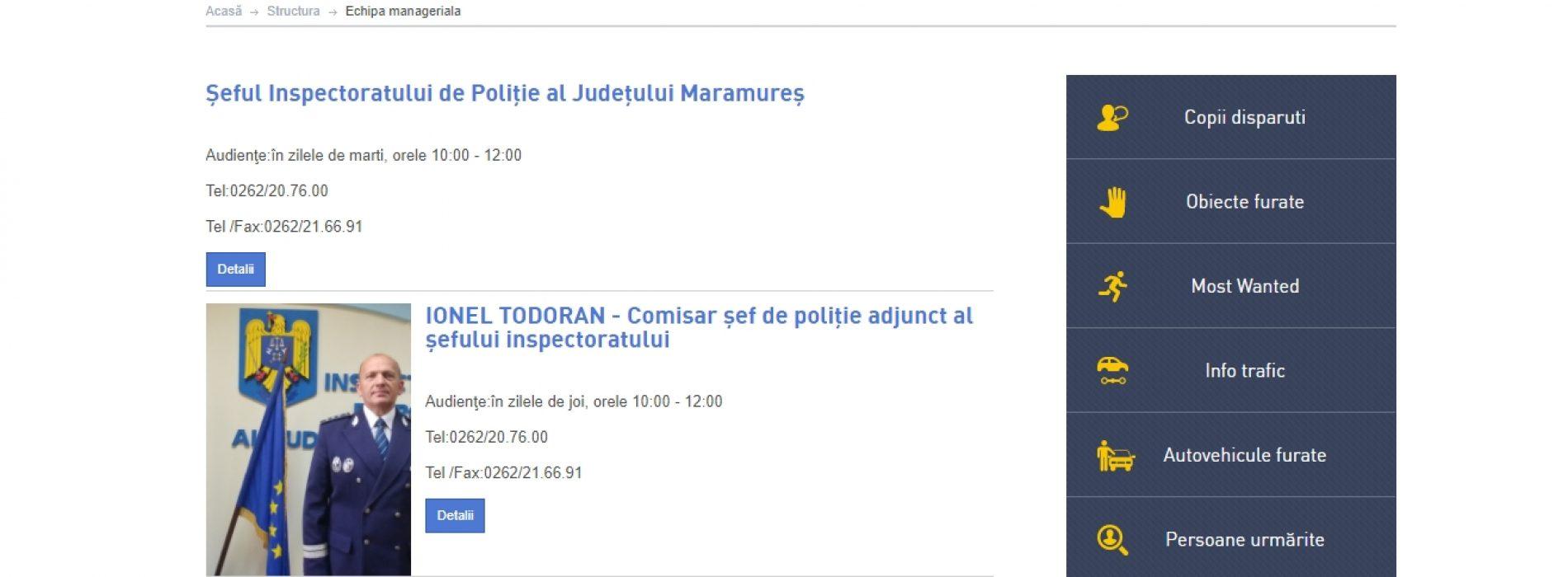 RUȘINE. Ionel Todoran este PROPRIUL SĂU ADJUNCT la conducerea IPJ Maramureș. Află ce e pe pagina de INTERNET a inspectoratului