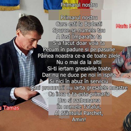 """Pamflet. Faptă PENALĂ la primăria BUDEȘTI. Preoteasa de la primărie către primar: """"Nu ne duce pe noi în ispită/Și nici în abuz în serviciu"""" . Primarul Liviu Tămaș și Maria Nănăștean REFUZĂ să-l numească în funcția de consilier pe Ioan Marinca"""