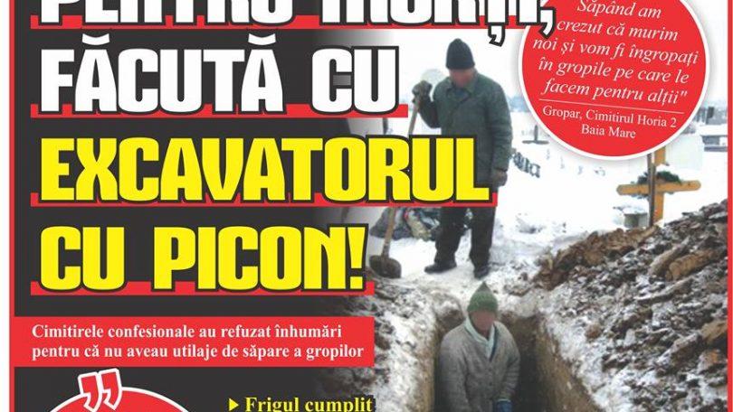 Din cauza înghețului SĂPAREA GROPILOR PENTRU MORȚI, FĂCUTĂ CU EXCAVATORUL CU PICON!