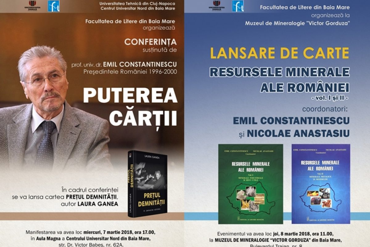 Emil Constantinescu – CONFERINȚĂ științifică și LANSARE de carte la Baia Mare