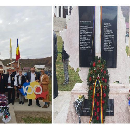 """IEUD. A fost inaugurat monumentul """"Centenarul Marii Uniri și al victimelor regimului comunist"""""""