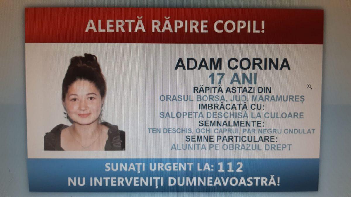 RĂPITĂ din BORȘA. O tânără de 17 ani a fost LUATĂ pe sus și FORȚATĂ să urce într-o mașină. Zeci de polițiști o caută pe Andreea Corina Adam și pe răpitori
