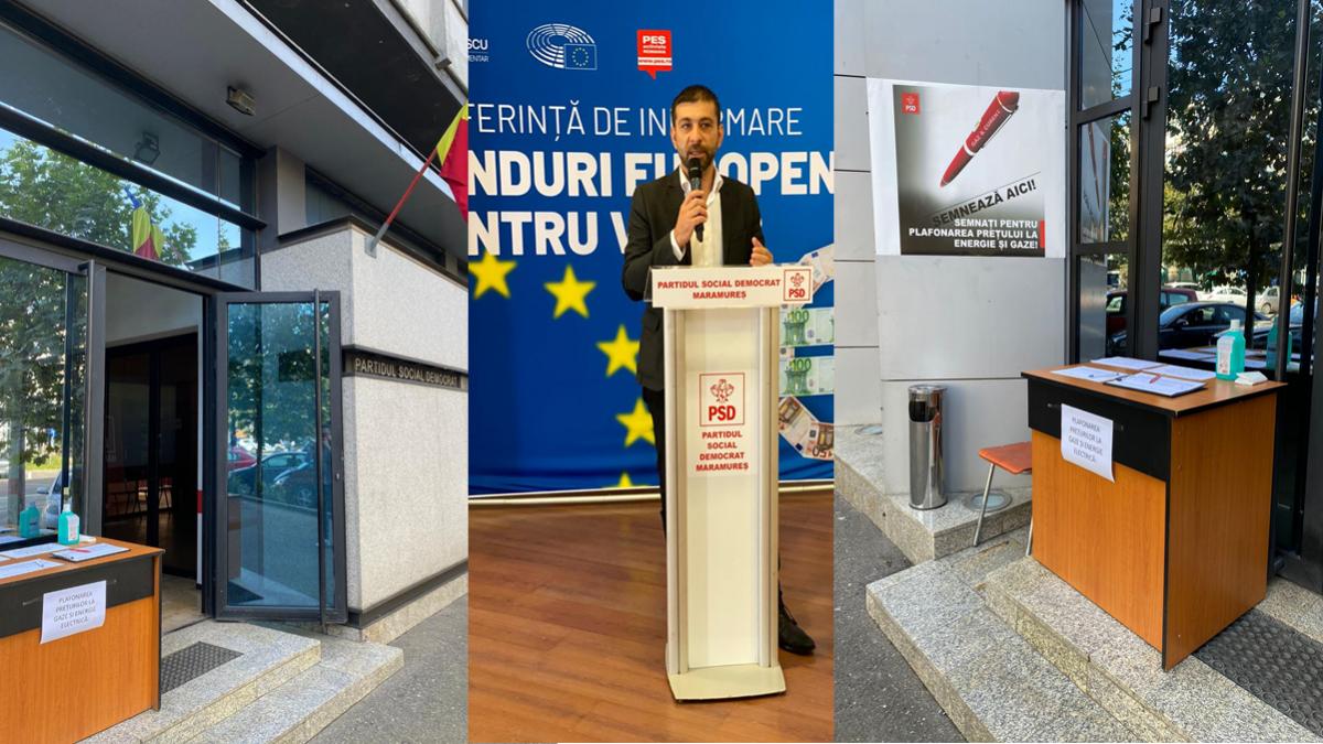 PSD Maramureș invită cetățenii să semneze pentru plafonarea prețurilor la gaze și energie